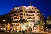 Casa Mila, night view, Barcelona, Spain, Europe, World Heritage