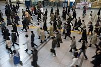 Commutation, station, people, rush, Minato Ward, Tokyo, Kanto, Japan, March