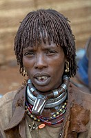 Portrait of a Hamer tribal women Dimeka Omovalley Ethiopia Africa