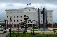 Modern administration building of a gaz and oil company in Salekhard city, Yamal Nenets, Russia, Eurasia
