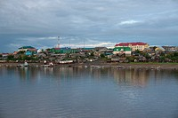 New administrative buildings on the Malaja_Ob river bank in Muzhi city, Yamal Nenets, Russia, Eurasia