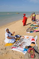 Hawkers on beach at Saly, Senegal, West Africa, Africa
