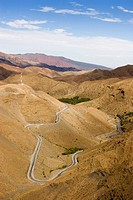 Winding road to the Tizi N´Tichka pass, Atlas mountains, Morocco, North Africa, Africa