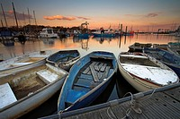 Boats tied up in Lymington harbour at sunset, Lymington, Hampshire, England, United Kingdom, Europe