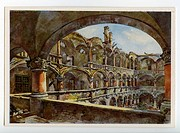 geography / travel, Germany, Munich, Old Coinage, interior view, postcard after watercolour by Gebhard Reitz, 1949, Muenzhof, destruction, ruin, Secon...