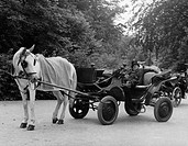 geography/travel, Germany, Munich, Englischer Garten, coachman sleeping in th coach, 1950s, 50s, professons, rest, horse, people, park, Bavaria, Europ...