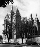 geography / travel, USA, cities, Salt Lake City, churches, Salt Lake Temple, mormon church, exterior view, built 6.4.1853 _ 6.4.1893, 1950s, North Ame...