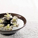 Flowers floating on ceramic plate