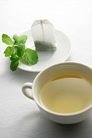 Green tea, tea bag and leaves on plate