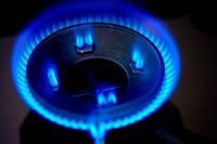 Gas burner on range, close_up blurred motion