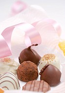 Assorted chocolate truffles, close_up