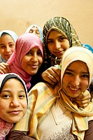 A group of Egyptian teenaged girls wearing headscarfs in the Egyptian Museum, Cairo, Egypt