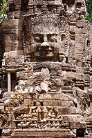 The smiling stone face of Avalokiteshvara in the Bayon temple