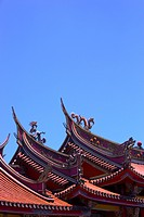 Rooftops of classic Chinese architecture against blue sky