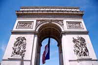 Arc de Triomphe and French flag, low angle view, Paris