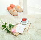 Slippers, teacup, notebook, pencil, and a rose on carpet