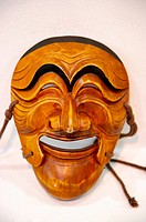 Asia, South Korea, Traditional Korean carved wooden mask, front view, close_up