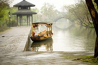 China, Zhejiang Province, Hangzhou, boat on the West Lake