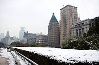 China, Shanghai, the bund with snow