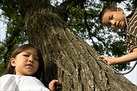 Five and seven year old sister and brother with stethescope on tree, Winnipeg, Canada