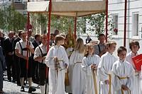 Fronleichnams Prozession in Waidhofen / Ybbs, Mostviertel, Österreich _ Corpus Christi procession in Waidhofen / Ybbs, Austria, Mostviertel_Region