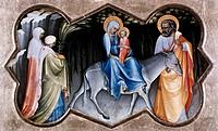 Ü Kunst, Sakralkunst, Heilige Familie, Flucht nach Ägypten Gemälde von Lorenzo Monaco um 1370 _ um 1425 Staatliches Lindenaumuseum Altenburg, Biblisch...