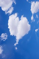 Cloud with heart shape in the clear sky