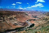 River valley, agriculture on banks, Lesotho
