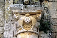 Mythical creatures decorate the Romanesque CHURCH OF SANT´ ANTIMO near the town of CASTELNUOVO DELL´ ABATE _ TUSCANY, ITALY