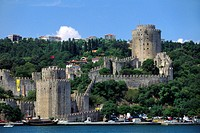 RUMELI HISARI CASTLE on the BOSPHORUS the waterway which joins the Mediterranean & the Black Sea _ Istanbul, Turkey