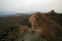 Damaged remain of beacon tower and wall, Jinshanling Great Wall, Hebei Province, China
