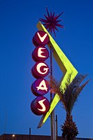 USA, Nevada, Las Vegas, Downtown, Freemont East Area, Neon Vegas sign, dusk