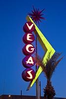 USA, Nevada, Las Vegas, Downtown, Freemont East Area, Neon Vegas sign, dusk