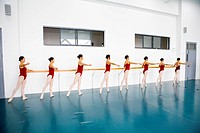 Girls practicing in a ballet school, Hefei, Anhui Province, China