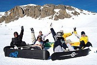 Teenagers on winter sporting