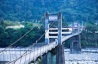 Suspension bridge and mountain in Neiwan, Hengshan, Hsinchu County, Taiwan
