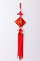 Close_up of a red decoration of Chinese style