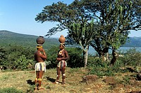 Zulu maidens fetching water from the river, Shakaland, Kwazulu_Natal, South Africa