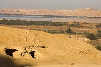 Ancienttombs on Gebel Al_Matwa, Mountain of the dead, Siwa oasis, Egypt