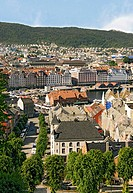 In this image you can see the harbour and historic houses of the old town of Bergen, in the second largest city in Norway viewed from the Floien Mount...