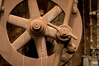 rusted wheel-works at now-defunct steel mill