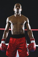 African boxer wearing Boxing gloves