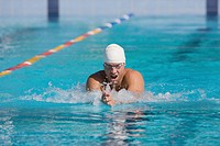 Athlete competing for breaststroke swimming stroke