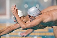 Australian swimmers diving for breaststroke competition