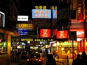 The populair shoppingstreet Nathan Road in Kowloon at night, Hongkong, China