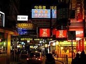 The populair shoppingstreet Nathan Road in Kowloon at night, Hongkong, China