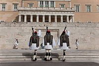 Royal guards at a monument in front of a government building, Hellenic Parliament, Athens, Greece