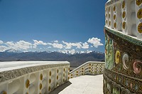 Railing of a stupa, Shanti Stupa, Leh, Ladakh, Jammu and Kashmir, India
