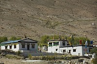 Monastery on a landscape, Khardong Gompa, North Pullu, Ladakh, Jammu And Kashmir, India