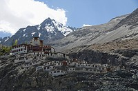 Low angle view of a monastery, Diskit Monastery, Nubra Valley, Ladakh, Jammu and Kashmir, India
